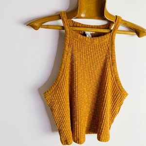 Forever 21 Cotton Blend Mustard Ribbed Crop Tank